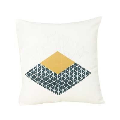Noble House Arizona White, Dark Blue and Yellow Square Outdoor Throw Pillow, Multicolor - Home Depot