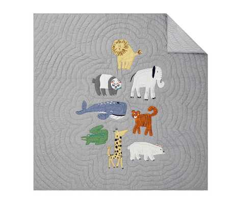 Silly Safari Quilt, Twin, Multi - Pottery Barn Kids
