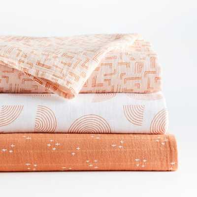 Pink Modern Swaddles, Set of 3 - Crate and Barrel