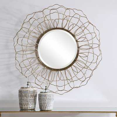 """Rosie Antique Gold Floral 34 3/4"""" Round Wall Mirror - Style # 78P99 - Lamps Plus"""