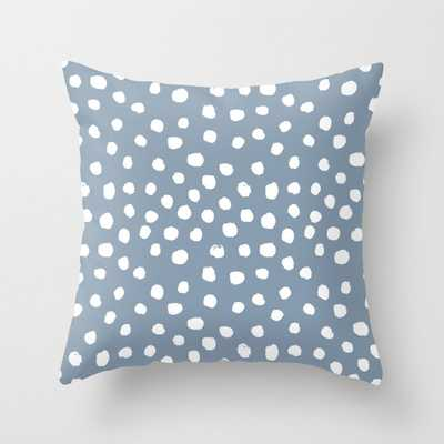 "Dusty Blue Dots - Blue Dot, Dots, Painted Dots, Minimal, Monochrome, Trendy, Fashion, Dorm, Blue Couch Throw Pillow by Charlottewinter - Cover (16"" x 16"") with pillow insert - Outdoor Pillow - Society6"