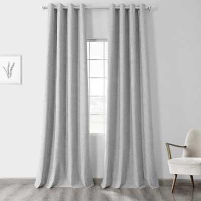 Exclusive Fabrics & Furnishings Millennial Grey Gray Vintage Thermal Cross Linen Weave Max Blackout Grommet Curtain - 50 in. W x 96 in. L (1 Panel) - Home Depot