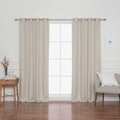 Best Home Fashion Woven Faux Linen Grommet Curtains with Blackout Lining, Ivory - Home Depot