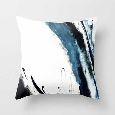 """Reykjavik: A Pretty And Minimal Mixed Media Piece In Black, White, And Blue Couch Throw Pillow by Alyssa Hamilton Art - Cover (18"""" x 18"""") with pillow insert - Indoor Pillow - Society6"""