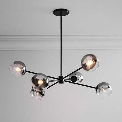 Staggered Glass Burst Chandelier With Light Bulb, Silver Ombre & Bronze - West Elm