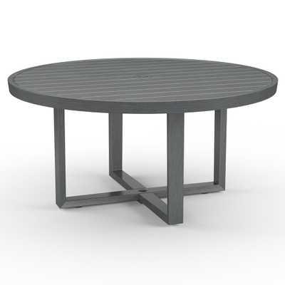 Sunset West Redondo Mid Century Grey Aluminum Outdoor Round Dining Table - Large - Kathy Kuo Home