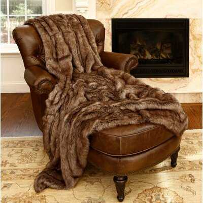 Onondaga Coyote Faux Fur Throw - Birch Lane