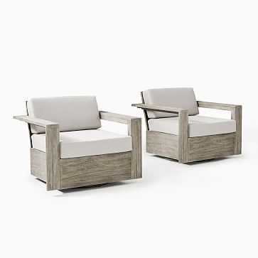 Portside Outdoor Swivel Chair, Weathered Gray, Set of 2 - West Elm