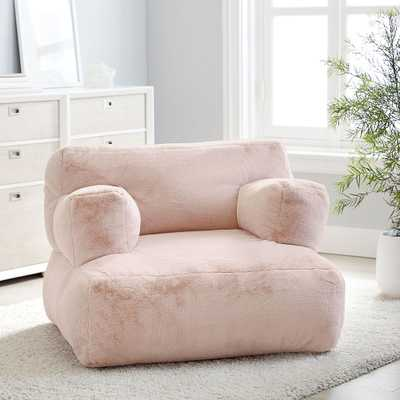 Recycled Faux-Fur Eco Lounger, Blush - Pottery Barn Teen