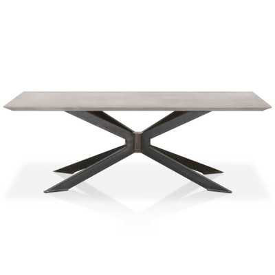 Scarlett Industrial Loft Grey Concrete Rectangle Dining Table - Kathy Kuo Home