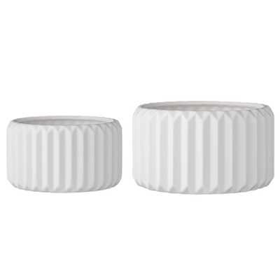 Set of 2 Round White Fluted Stoneware Flower Pots - Moss & Wilder