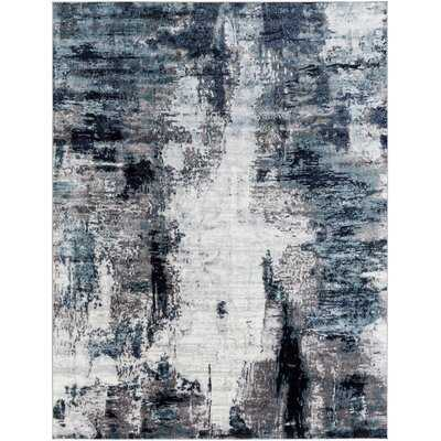 Wauwinet Power Loom Aqua/Navy Rug - Wayfair