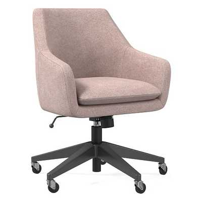 Helvetica Office Chair, Distressed Velvet, Light Pink, Antique Bronze - West Elm