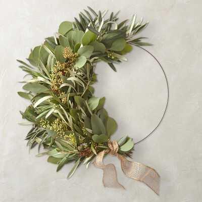 "Eucalyptus and Olive Half Wreath, 18"" - Williams Sonoma"