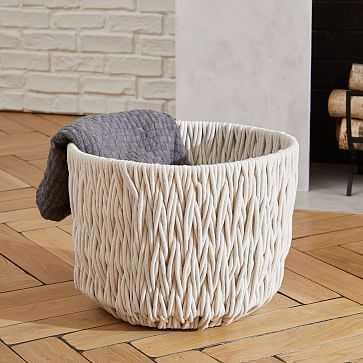 Chunky Weave Large Basket, Ivory - West Elm