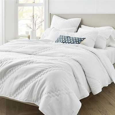 Tencel Stepped Quilt, Full/Queen, Stone White - West Elm