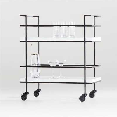 Adina Black Cart with White Concrete Shelves - Crate and Barrel