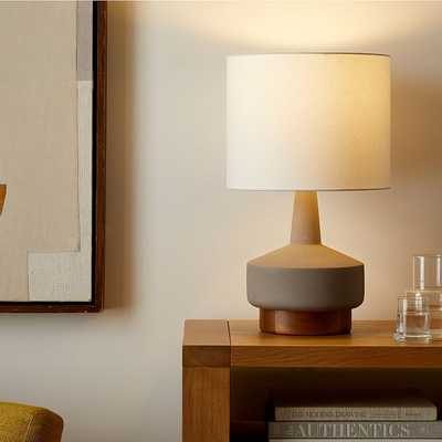 Wood & Ceramic Table Lamp, Medium, Gray Set of 2 - West Elm