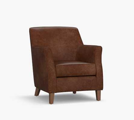 SoMa Newton Leather Armchair, Polyester Wrapped Cushions, Vegan Java - Pottery Barn