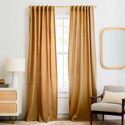 """European Flax Linen Curtain, Camel, 48""""x84"""" - West Elm"""