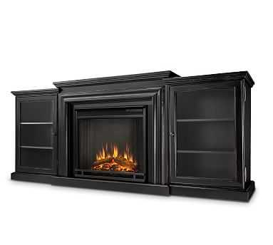 Frederick Electric Fireplace Media Cabinet, Black - Pottery Barn