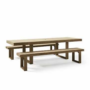 "Portside Outdoor Expandable Dining Table + 2 88.5"" Benches Set, Driftwood - West Elm"