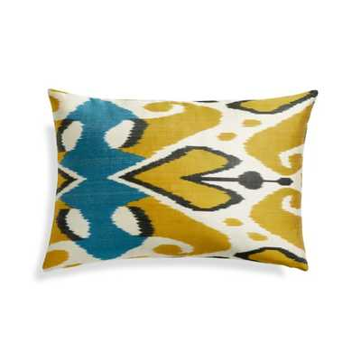 """Silk Ikat Pillow Cover Yellow/Blue 22""""x15"""" - Crate and Barrel"""