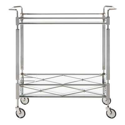 Safavieh Ingrid 2-Tier Chrome Bar Cart, Grey - Wayfair