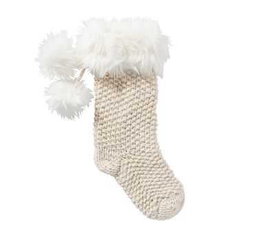 Knit Stocking with Faux Fur Trim, Ivory - Medium - Pottery Barn