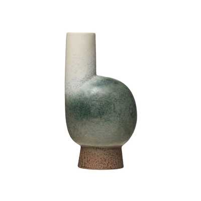 "11""H Round Stoneware Vase with Chimney, Pedestal Base & Reactive Glaze Finish (Each one will vary) - Moss & Wilder"