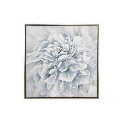 """39.5"""" Large Square Blue & White Peony Flower Acrylic Painting In Silver Frame - Floater Frame Painting on Canvas - Wayfair"""