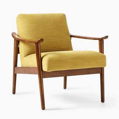 Mid-Century Show Wood Chair, Poly, Basket Slub, Dark Horseradish, Pecan,Individual - West Elm
