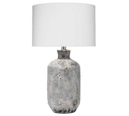 "Barstow Ceramic Table Lamp, Grey Textured Ceramic, 24.5"" - Pottery Barn"