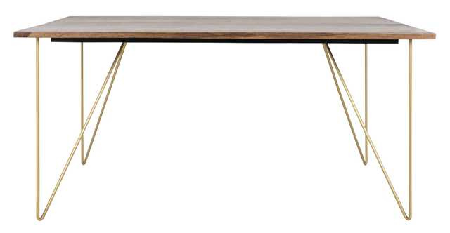 Captain Hairpin Legs Wood Dining Table - Walnut/Brass - Arlo Home - Arlo Home