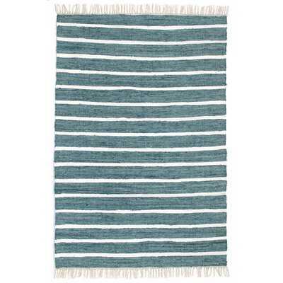 Anniedale Handmade Flatweave Cotton Teal Rug - Wayfair
