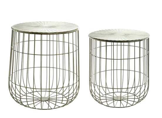 Metal Storage Basket Tables with Removable Pleated Tops (Set of 2 Sizes) - Nomad Home