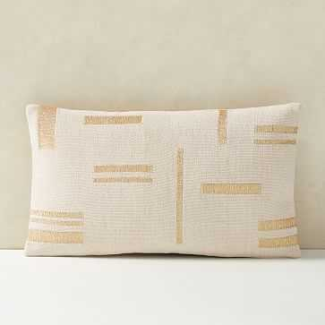 "Embroidered Metallic Blocks Pillow Cover, 12""x21"", Belgian Flax - West Elm"