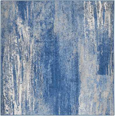 Arlo Home Woven Area Rug, ADR112F, Silver/Blue,  8' X 8' Square - Arlo Home