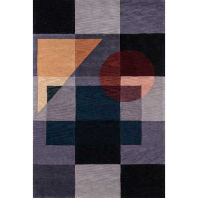 """New Wave Hand-Tufted Wool Blue Area Rug Rug Size: Rectangle 7'6"""" x 9'6"""" - Perigold"""