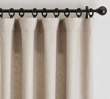 "Custom Classic Belgian Flax Linen Rod Pocket Blackout Curtain, Dark Flax, 96 x 144"" - Pottery Barn"