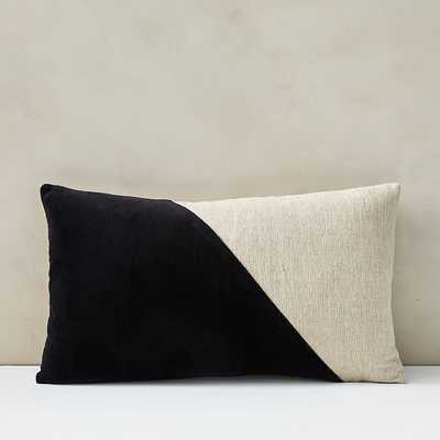 "Cotton Linen + Velvet Lumbar Pillow Cover with Down Alternative Insert, Black, 12""x21"" - West Elm"