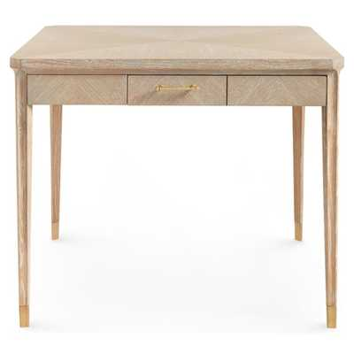 Bungalow 5 Bertram Coastal Natural Cerused Oak Brass Accent Game Table - Kathy Kuo Home