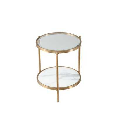 Lim Glass Top 3 Legs End Table with Storage - Wayfair
