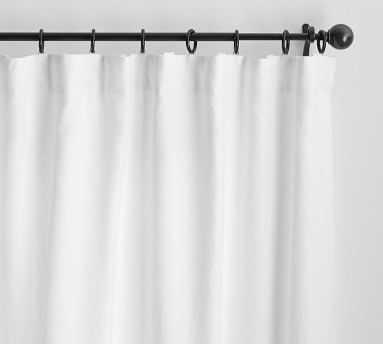 "Custom Classic Belgian Flax Linen Rod Pocket Blackout Curtain, White, 108 x 100"" - Pottery Barn"