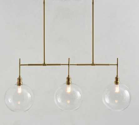 Glass Globe Linear Chandelier, Brass - Pottery Barn