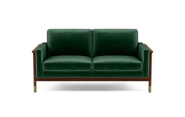 Jason Wu Loveseats with Green Malachite Fabric and Oiled Walnut with Brass Cap legs - Interior Define