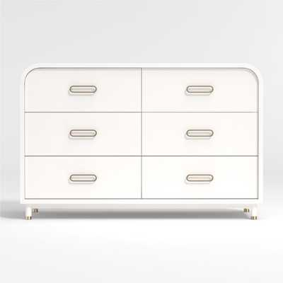 Arlo Wide White and Gold Dresser - Crate and Barrel