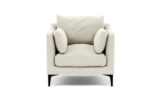 Caitlin by The Everygirl Petite Chair with White Chalk Fabric and Matte Black legs - Interior Define