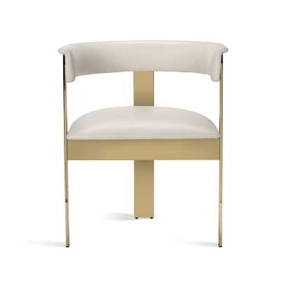 Interlude Darcy Upholstered Metal Arm Chair Upholstery Color: Buff Cream, Frame Color: Shiny Brass - Perigold