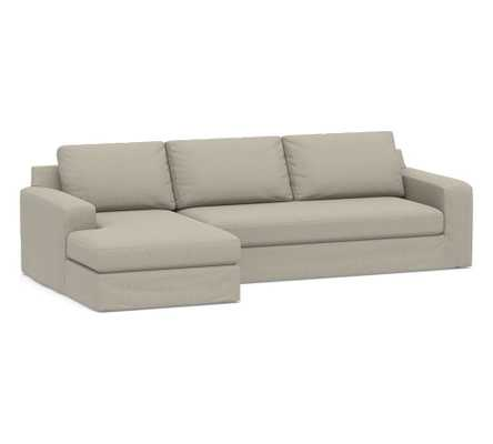 Big Sur Square Arm Slipcovered Right Arm Sofa with Chaise Sectional and Bench Cushion, Down Blend Wrapped Cushions, Chenille Basketweave Pebble - Pottery Barn